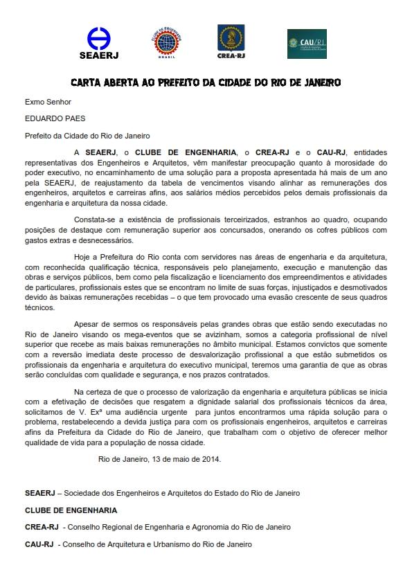 718df8726c050 Arquitetos e urbanistas e engenheiros publicam carta aberta ao prefeito da  cidade do Rio de Janeiro