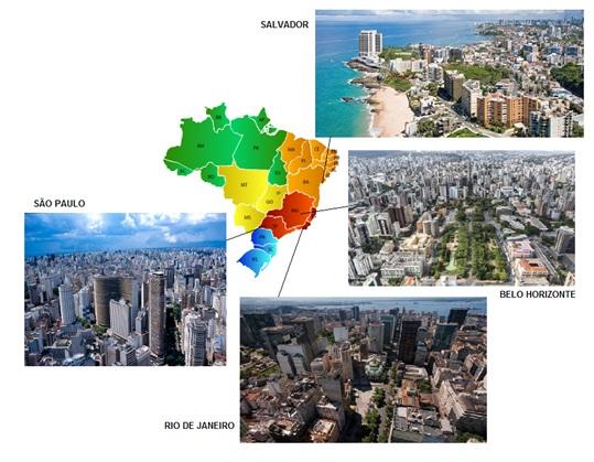 Mapa do Brasil, destaque para São Paulo, Rio de Janeiro, Belo Horizonte e Salvador