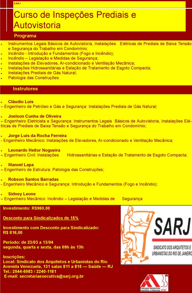 Curso Sarj sobre Autovistoria